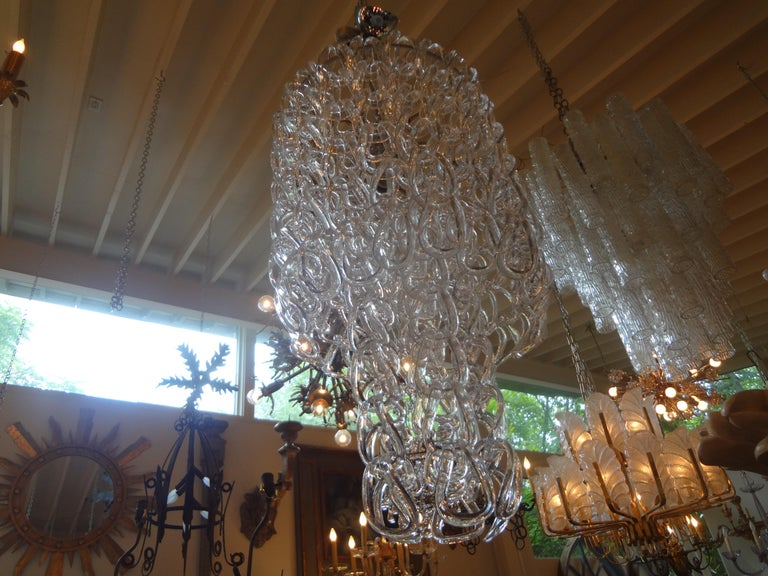 Mid-20th Century Murano Glass Chandelier Inspired by Mangiarotti, Italy, 1960s For Sale