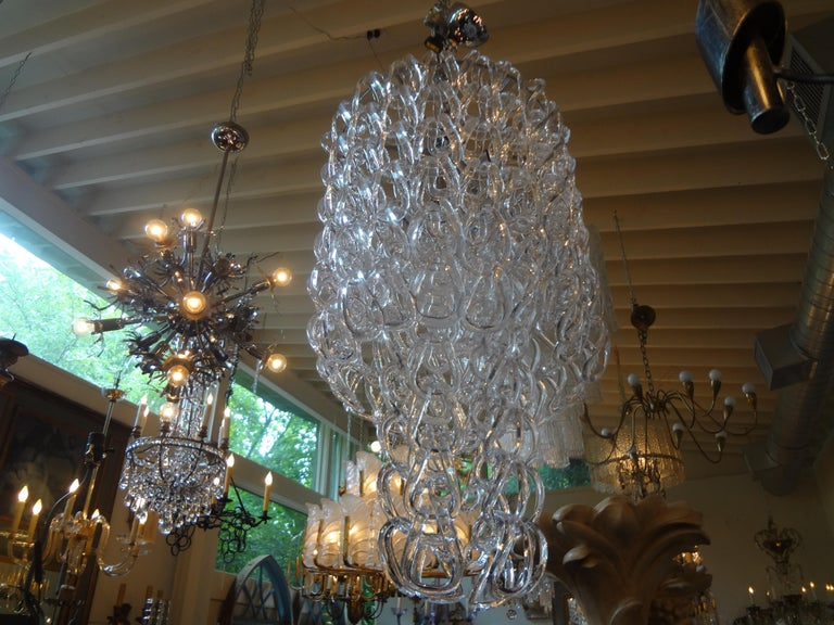 Blown Glass Murano Glass Chandelier Inspired by Mangiarotti, Italy, 1960s For Sale