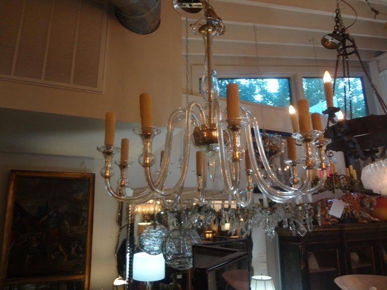 Louis XVI Murano Glass Chandelier Attributed to Seguso