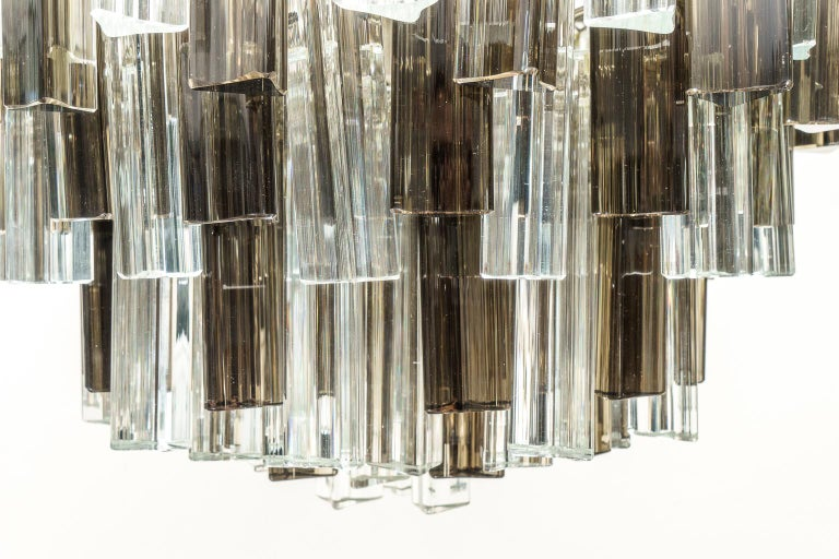 Stainless Steel Murano Glass Chandelier by Venini for Camer Glass For Sale