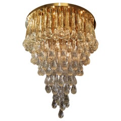 Murano Glass Chandelier Golden Brass and Crystal Drops