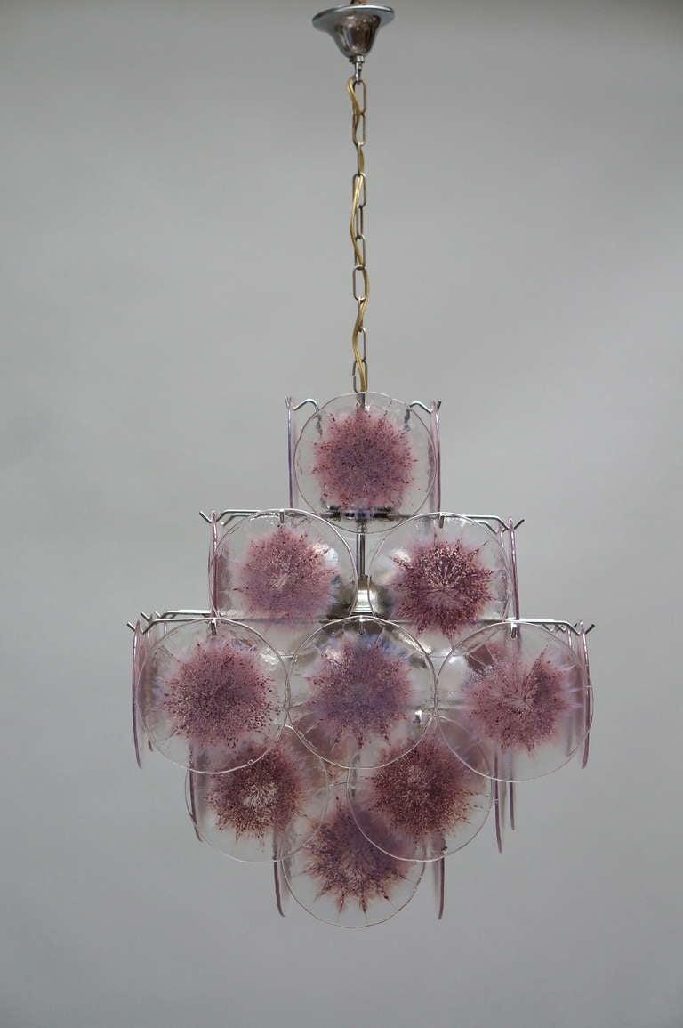 Metal Italian Murano Glass Chandelier, Italy For Sale