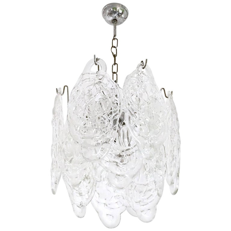 "Murano Glass Chandelier ""Ragnatela"" Chandelier by Mazzega, Italy, 1960s-1970s For Sale"