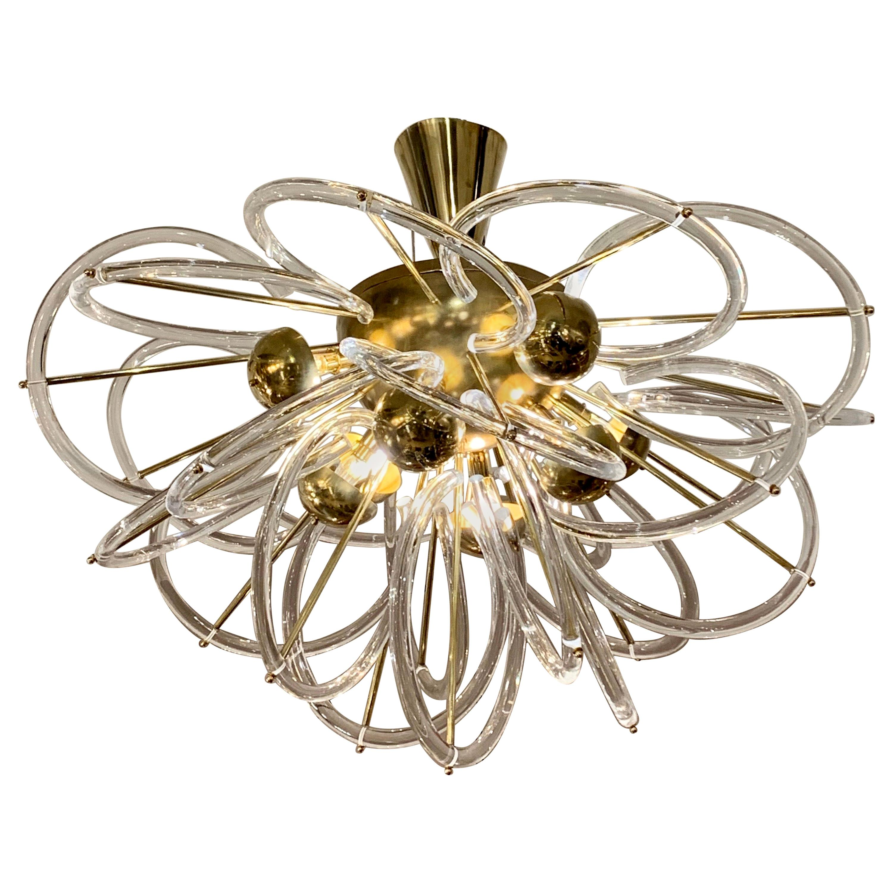 Murano Glass Chandelier with Clear Glass Circles and Brass Structure, 1970s