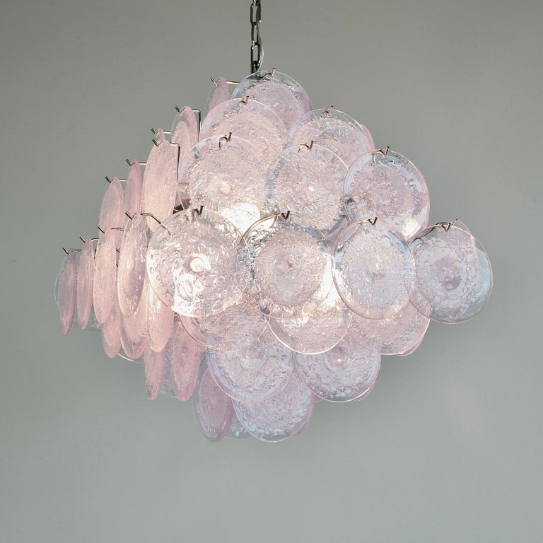 Large glass disk chandelier. Italy, Murano.