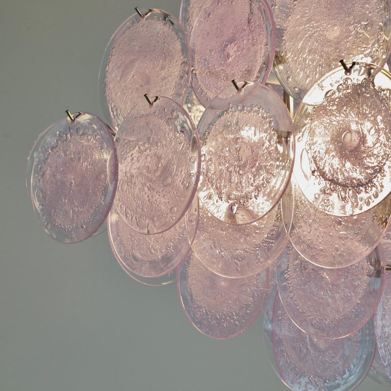 Modern Murano Glass Chandelier with Lavender Coloured Glass Disks For Sale