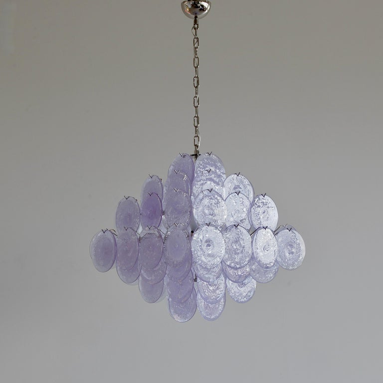 Italian Murano Glass Chandelier with Lavender Coloured Glass Disks For Sale