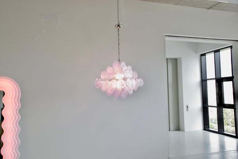 Contemporary Murano Glass Chandelier with Lavender Coloured Glass Disks For Sale