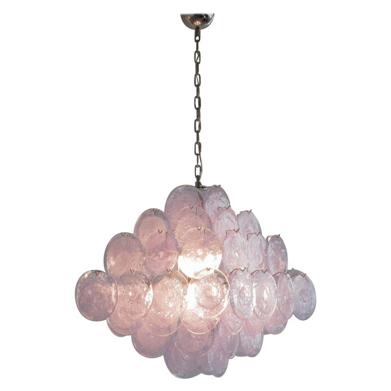 Murano Glass Chandelier with Lavender Coloured Glass Disks For Sale