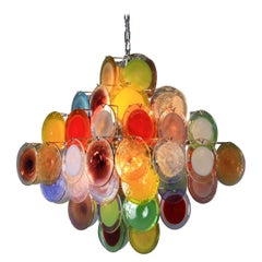 Murano Glass Chandelier with Multicolored Glass Disks