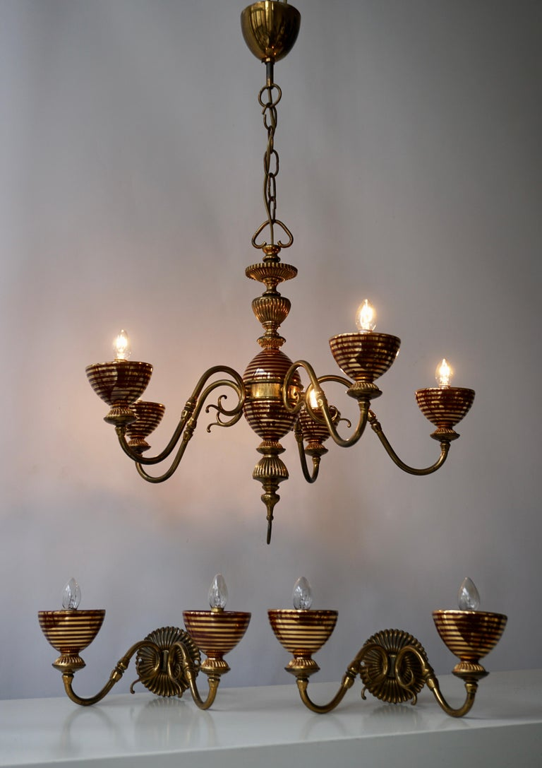Murano Glass Chandelier with two Sconces For Sale 4