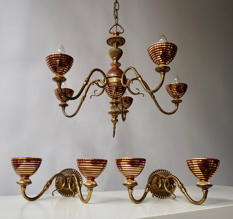 Italian Murano glass and brass chandelier with two wall lights.