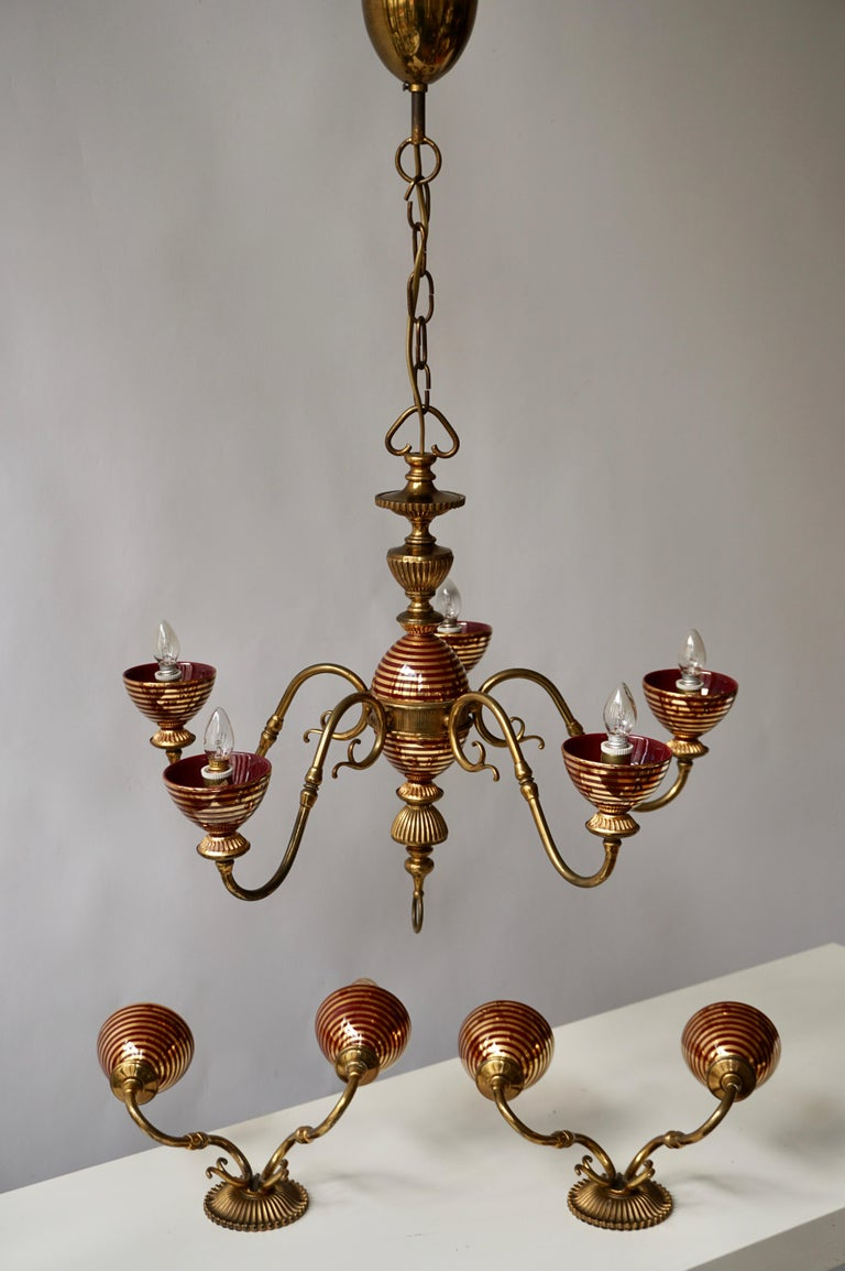 Mid-Century Modern Murano Glass Chandelier with two Sconces For Sale