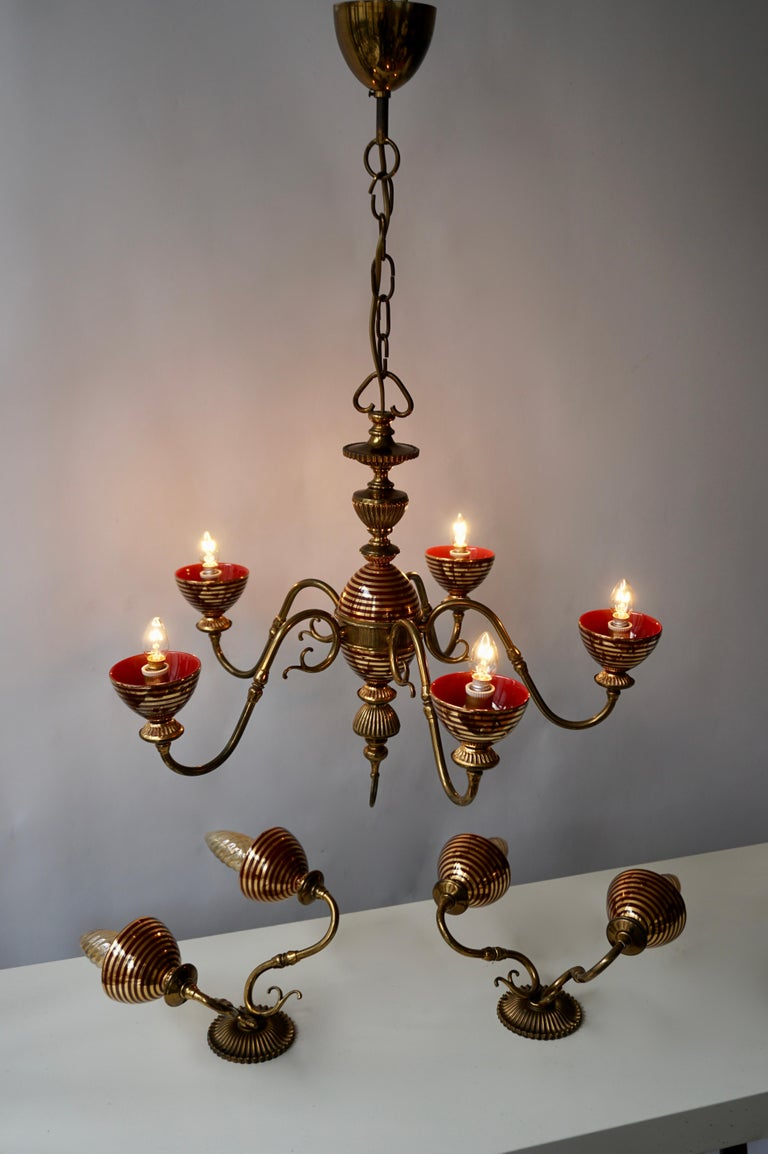 Italian Murano Glass Chandelier with two Sconces For Sale