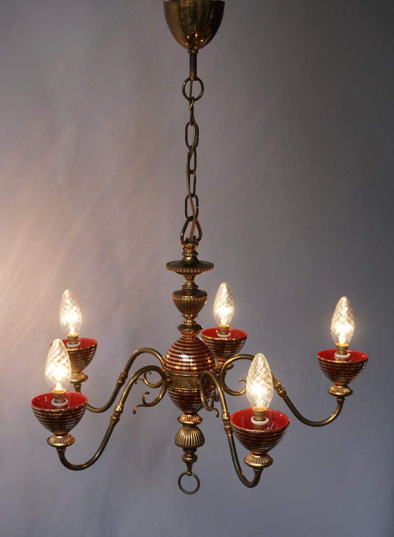 Murano Glass Chandelier with two Sconces In Good Condition For Sale In Antwerp, BE