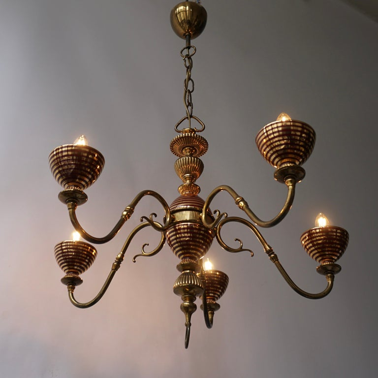 Brass Murano Glass Chandelier with two Sconces For Sale