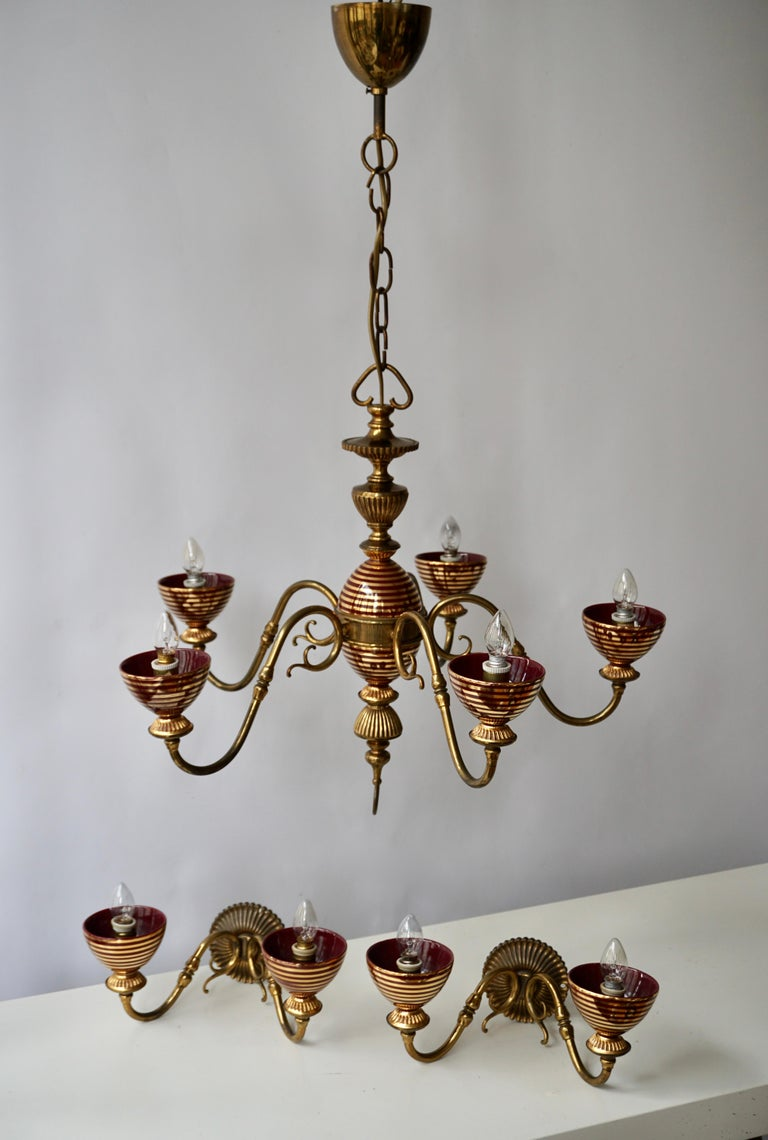 Murano Glass Chandelier with two Sconces For Sale 1