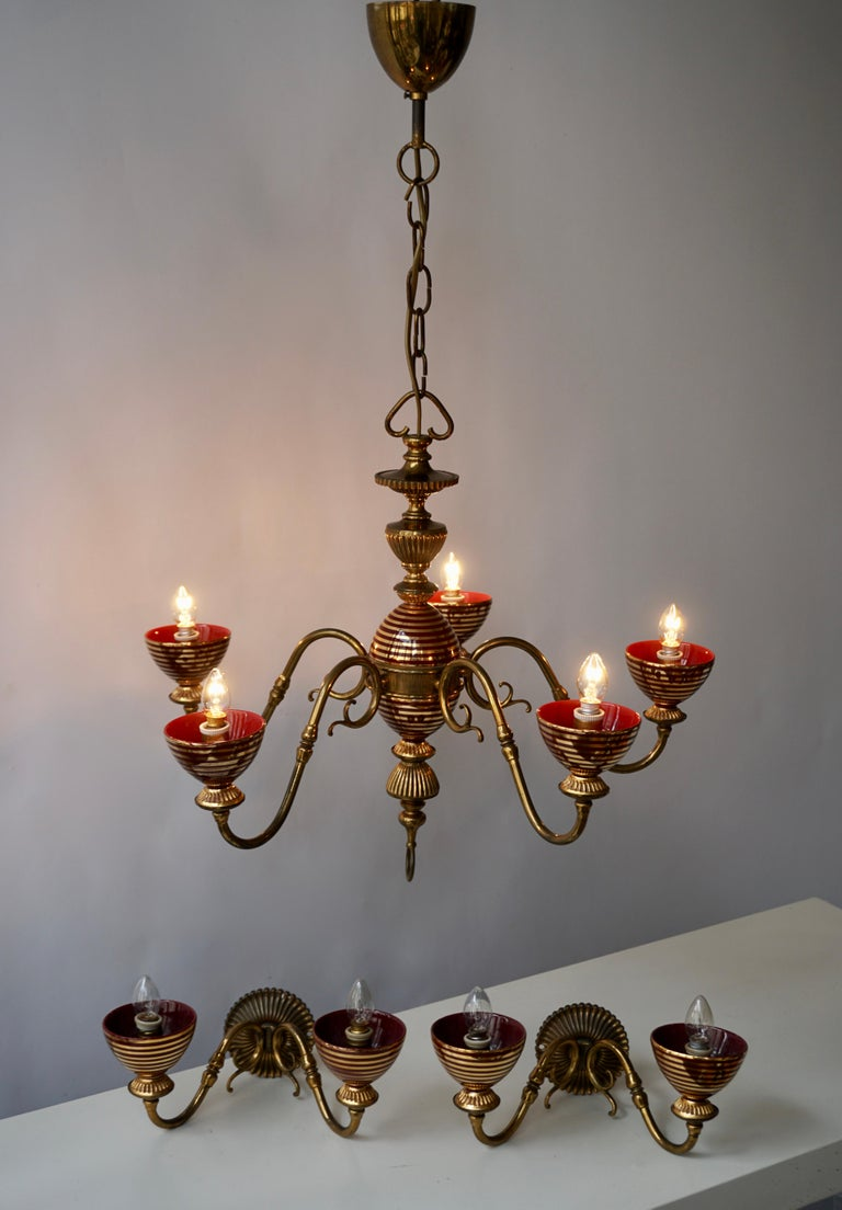 Murano Glass Chandelier with two Sconces For Sale 2