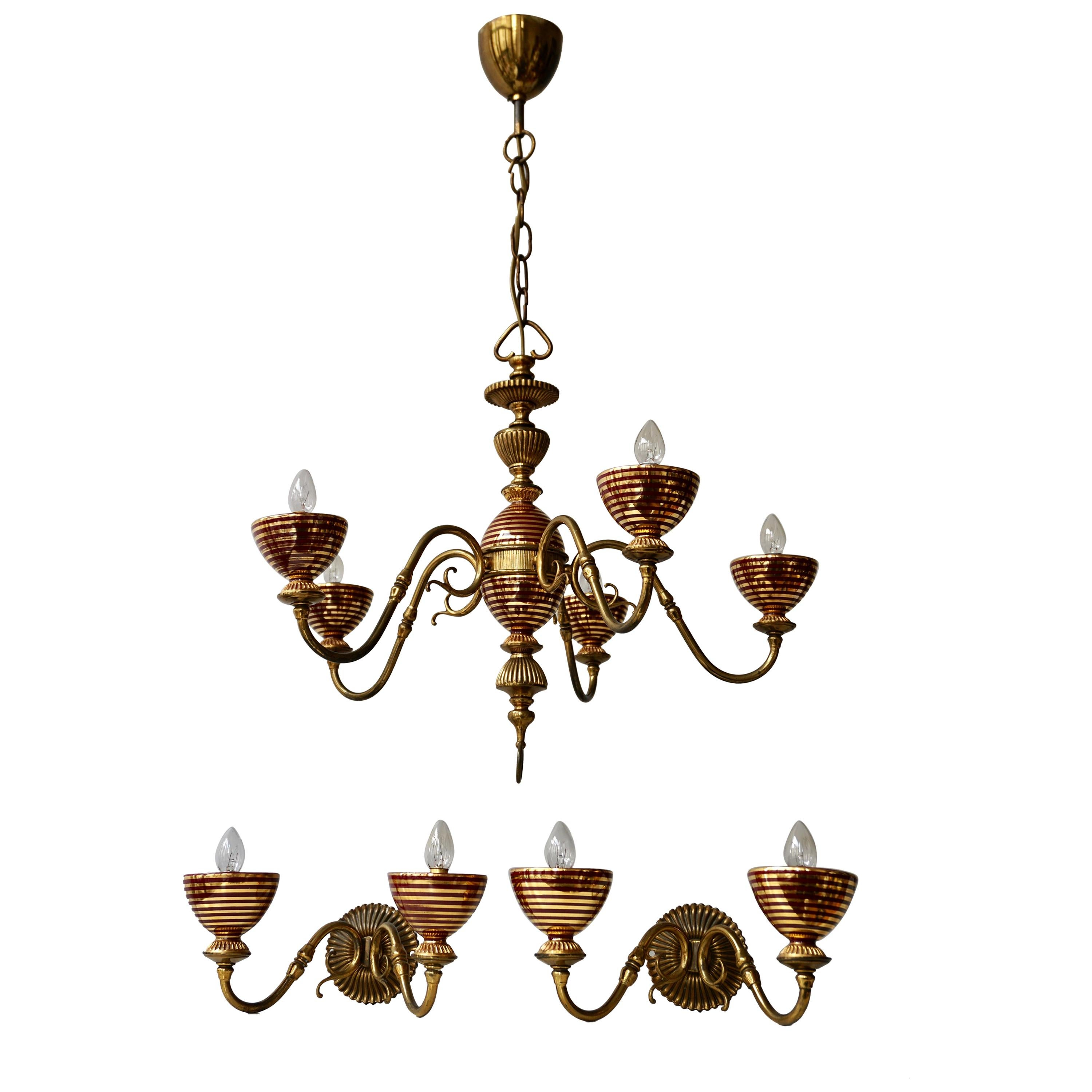 Murano Glass Chandelier with two Sconces