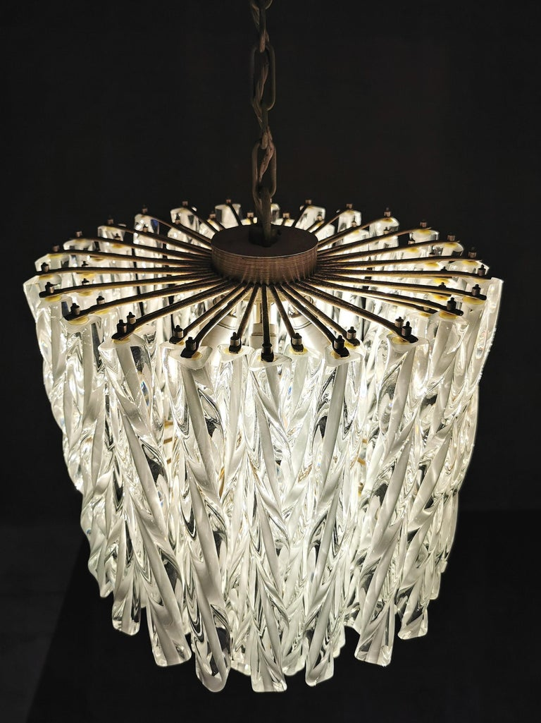 Chandeliers Murano Glass by Venini Midcentury Italian Design 1960s Set of 2 For Sale 3