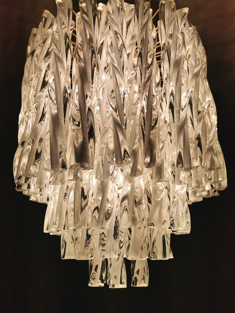 Chandeliers Murano Glass by Venini Midcentury Italian Design 1960s Set of 2 For Sale 4