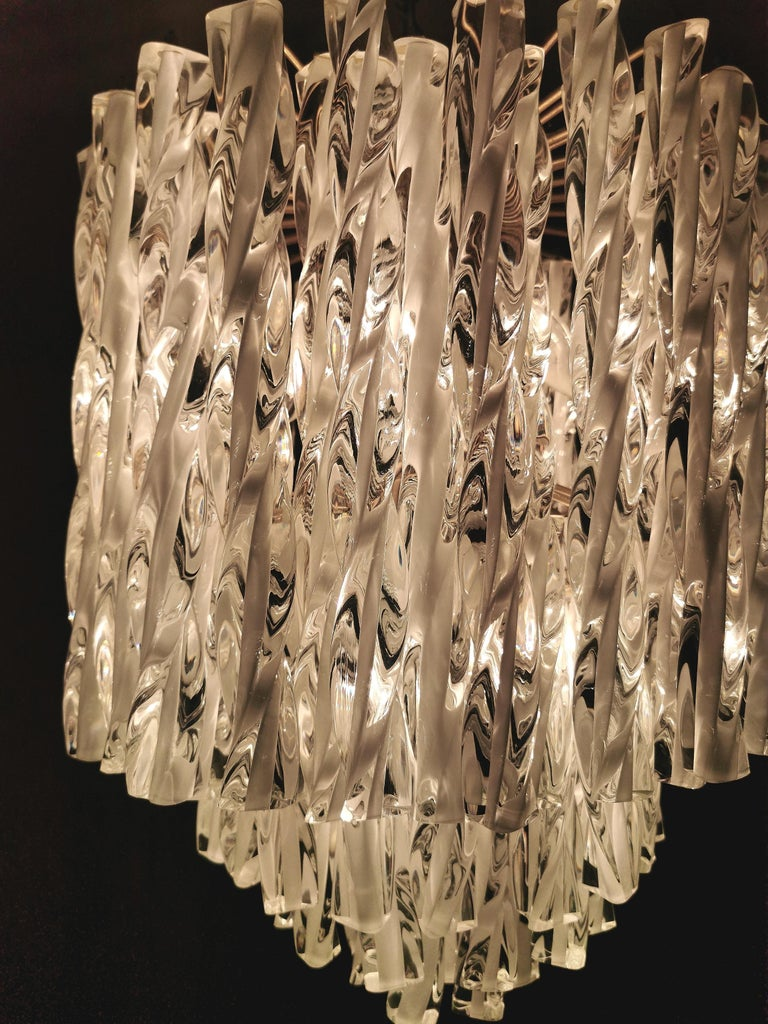 Chandeliers Murano Glass by Venini Midcentury Italian Design 1960s Set of 2 For Sale 5