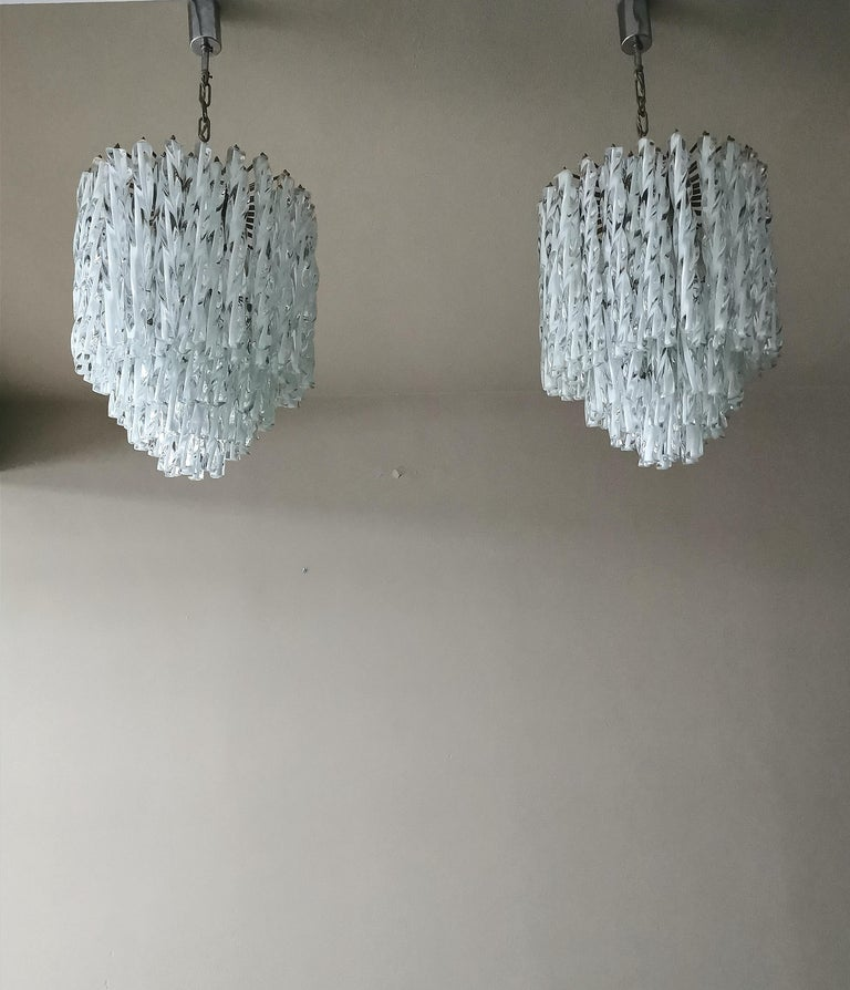 Chandeliers Murano Glass by Venini Midcentury Italian Design 1960s Set of 2 For Sale 7