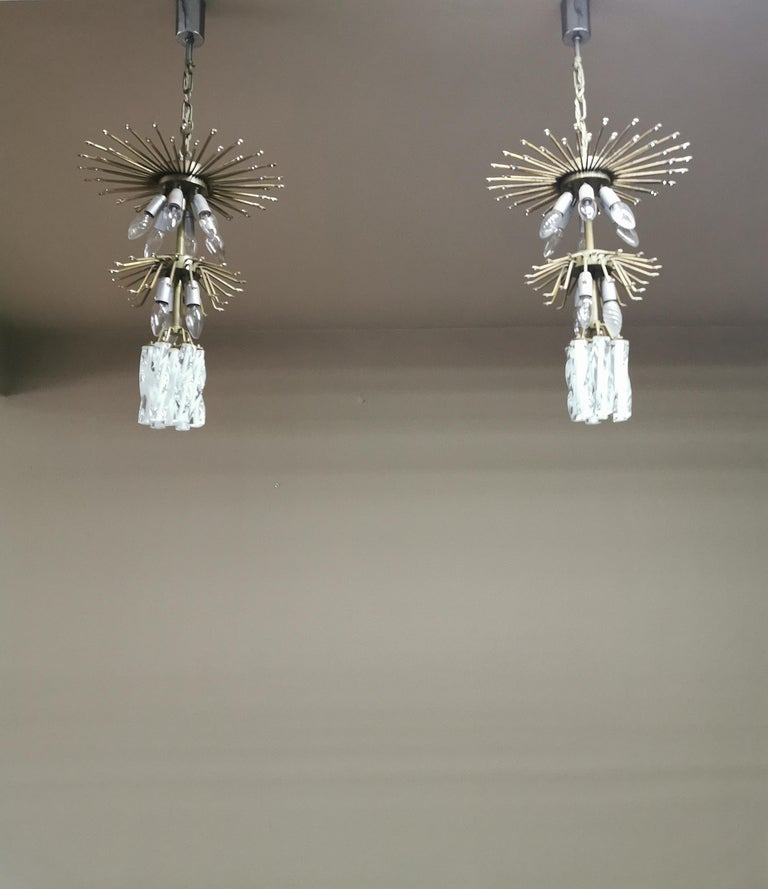 Chandeliers Murano Glass by Venini Midcentury Italian Design 1960s Set of 2 For Sale 8