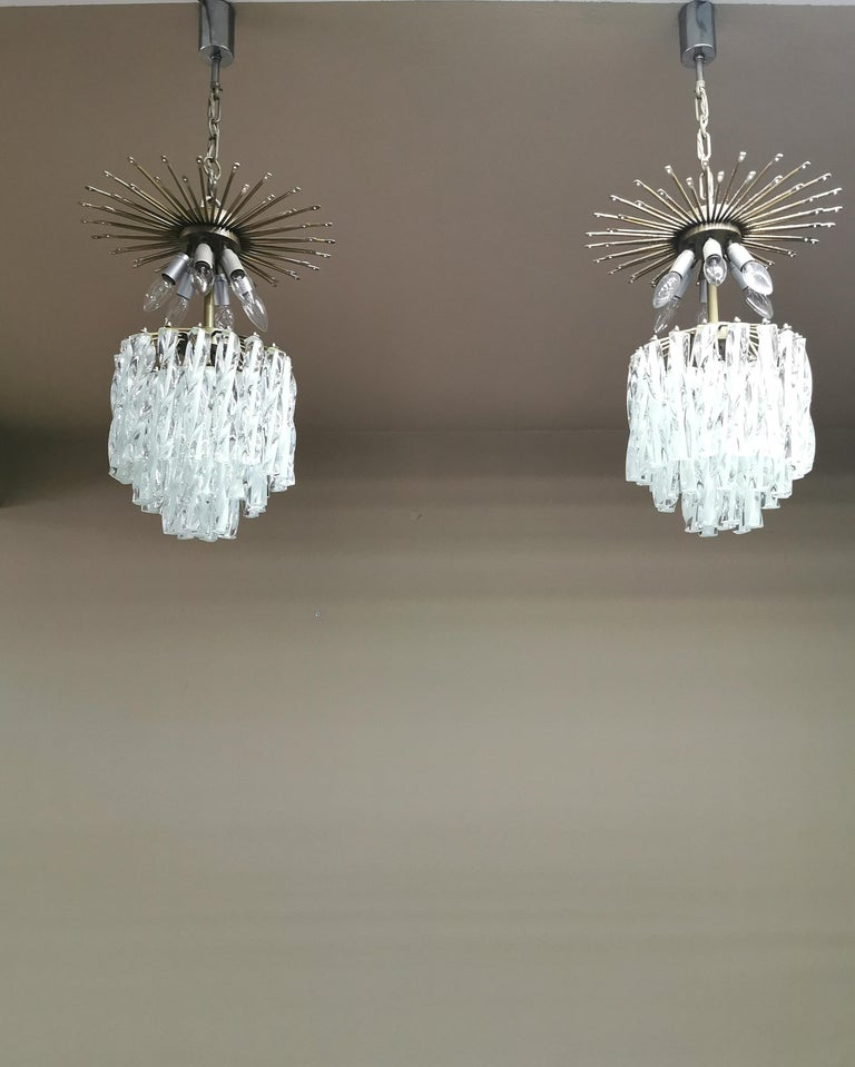 Chandeliers Murano Glass by Venini Midcentury Italian Design 1960s Set of 2 For Sale 9
