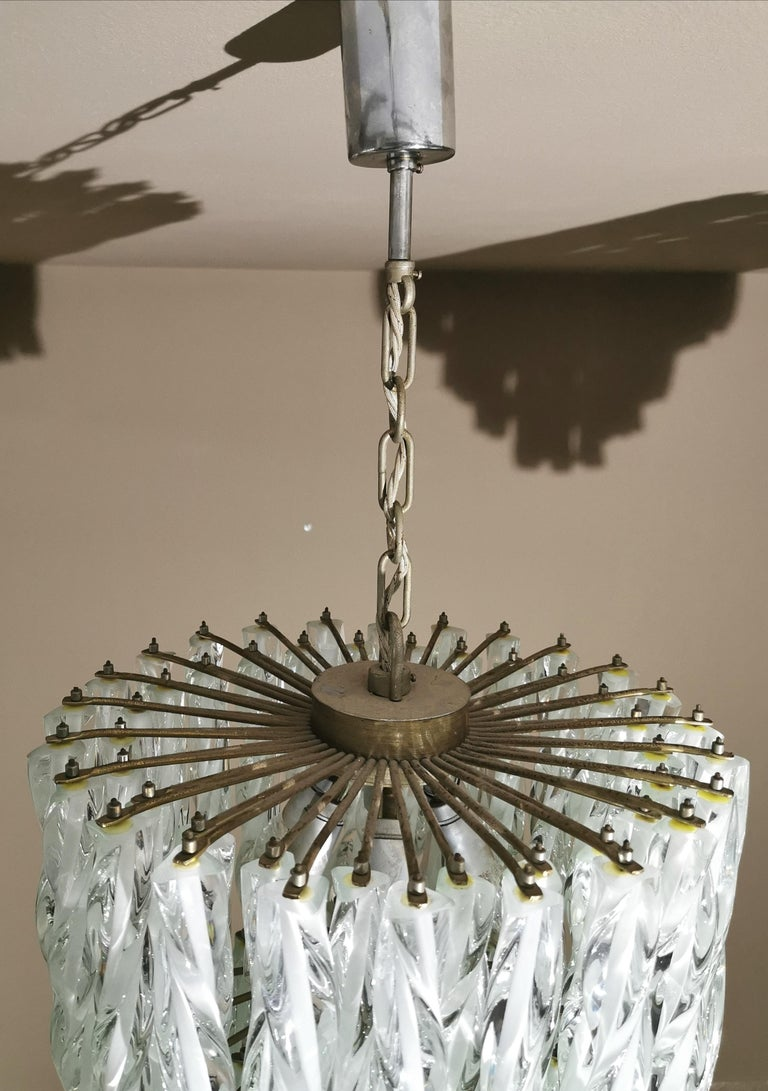 Chandeliers Murano Glass by Venini Midcentury Italian Design 1960s Set of 2 For Sale 10