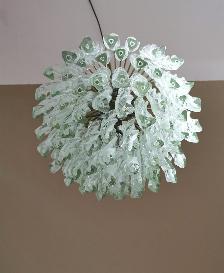 Mid-Century Modern Chandeliers Murano Glass by Venini Midcentury Italian Design 1960s Set of 2 For Sale