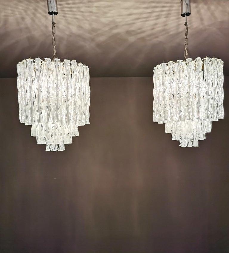 Metal Chandeliers Murano Glass by Venini Midcentury Italian Design 1960s Set of 2 For Sale