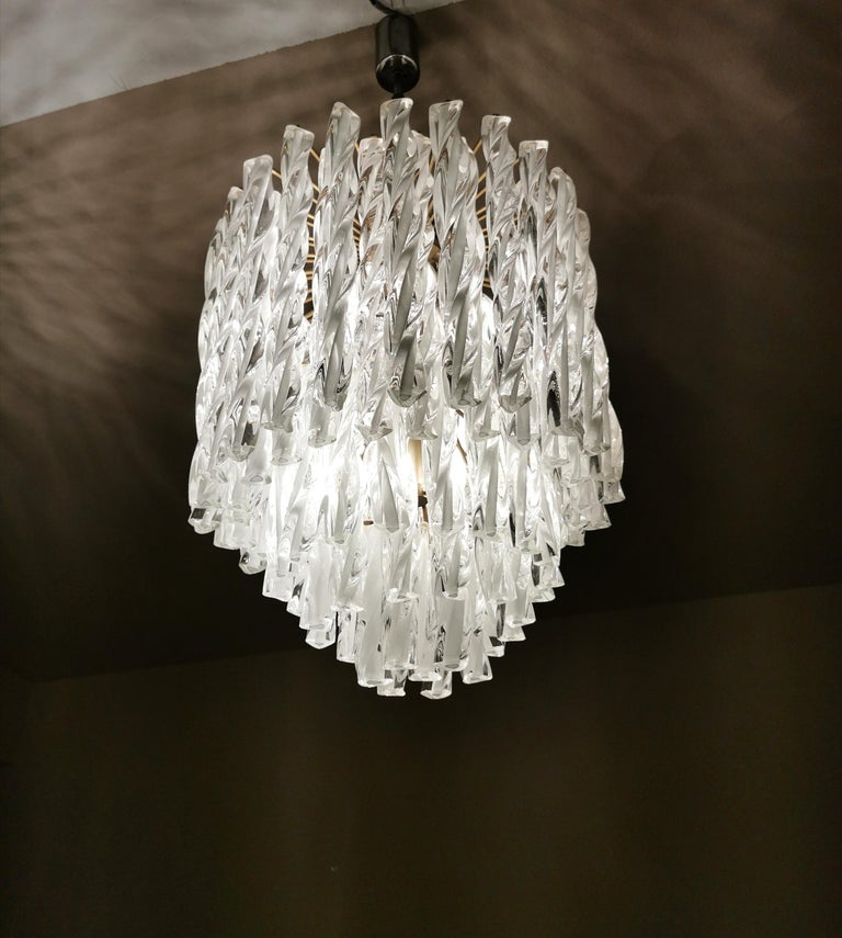 Chandeliers Murano Glass by Venini Midcentury Italian Design 1960s Set of 2 For Sale 1