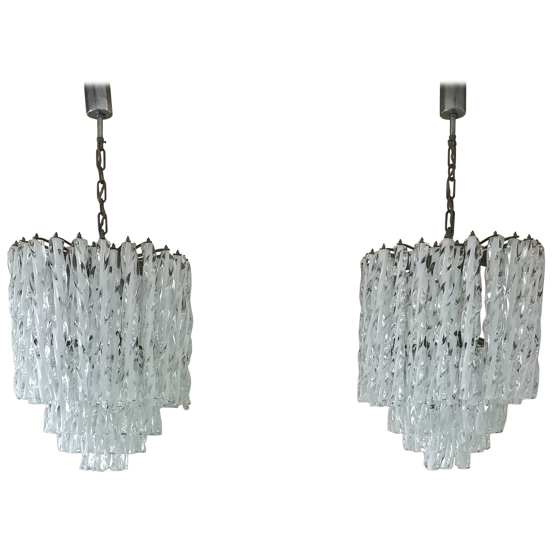Chandeliers Murano Glass by Venini Midcentury Italian Design 1960s Set of 2