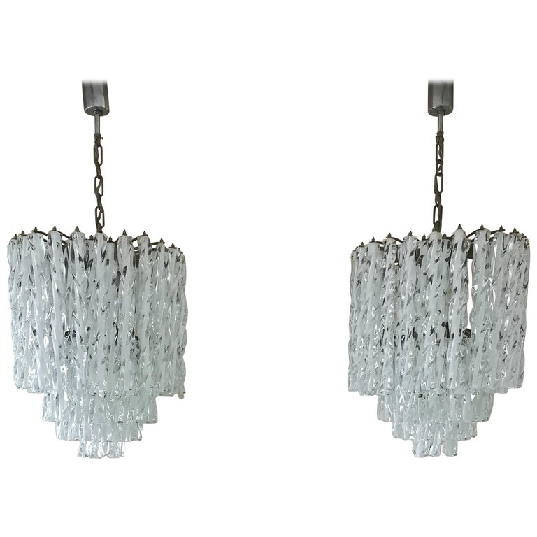 Chandeliers Murano Glass by Venini Midcentury Italian Design 1960s Set of 2 For Sale