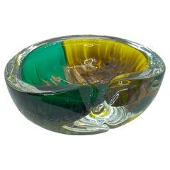 Murano Glass Cigar Ashtray Catchall Green, Gold and Yellow Vintage, Italy, 1970s