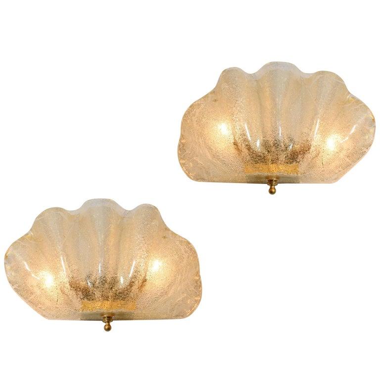 Italian Murano gold flecked Clam Shell Wall Lights