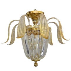Murano Glass Clear and Gold Inclusions Flush Mount Ceiling Light