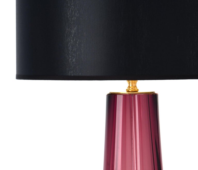 Murano Glass Dark Amethyst Lamps In Excellent Condition For Sale In Austin, TX