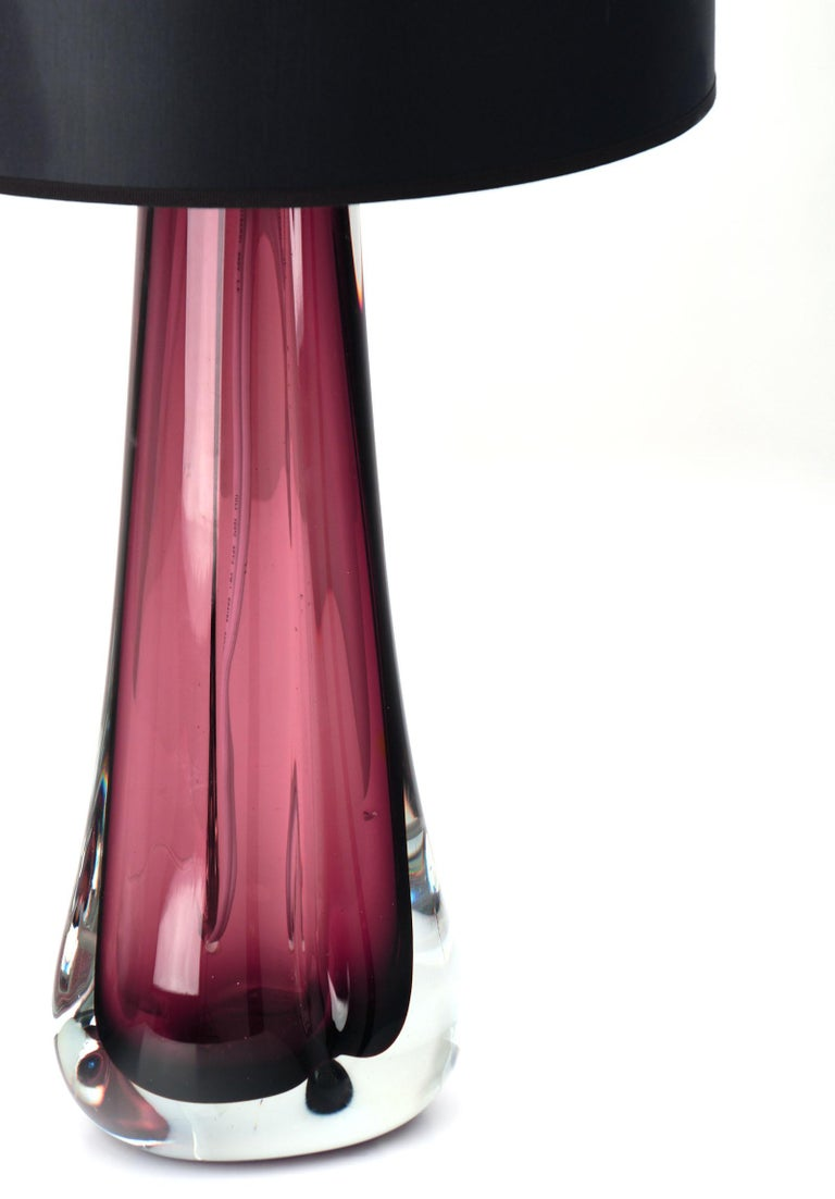 Contemporary Murano Glass Dark Amethyst Lamps For Sale