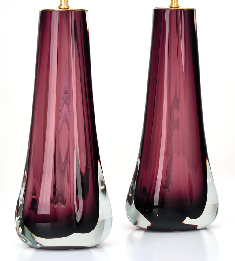Murano Glass Dark Amethyst Lamps For Sale 2