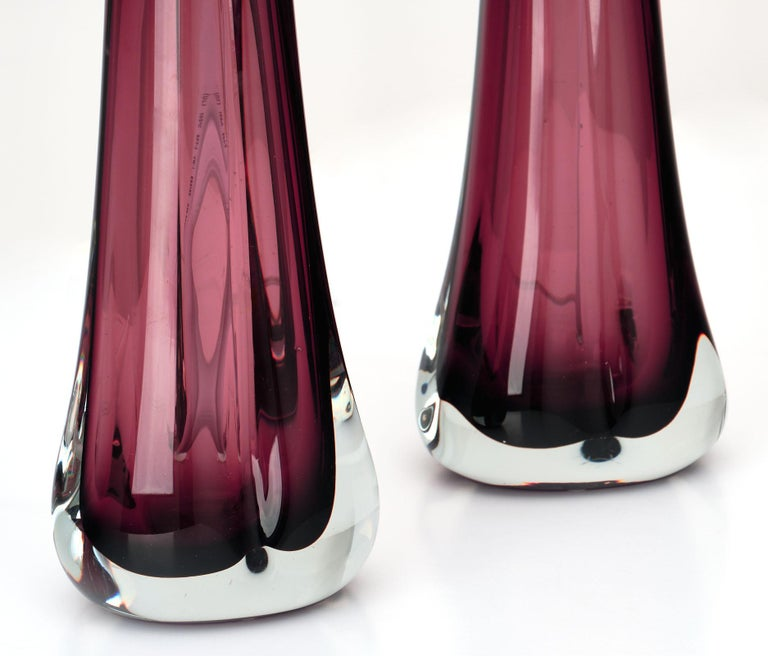 Murano Glass Dark Amethyst Lamps For Sale 3