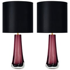 Murano Glass Dark Amethyst Lamps
