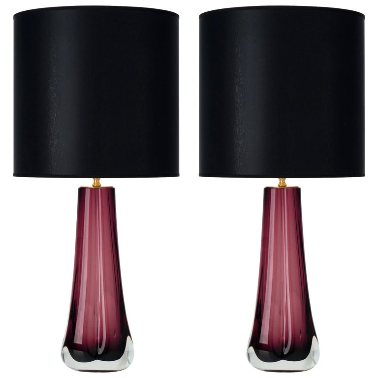 Murano Glass Dark Amethyst Lamps For Sale