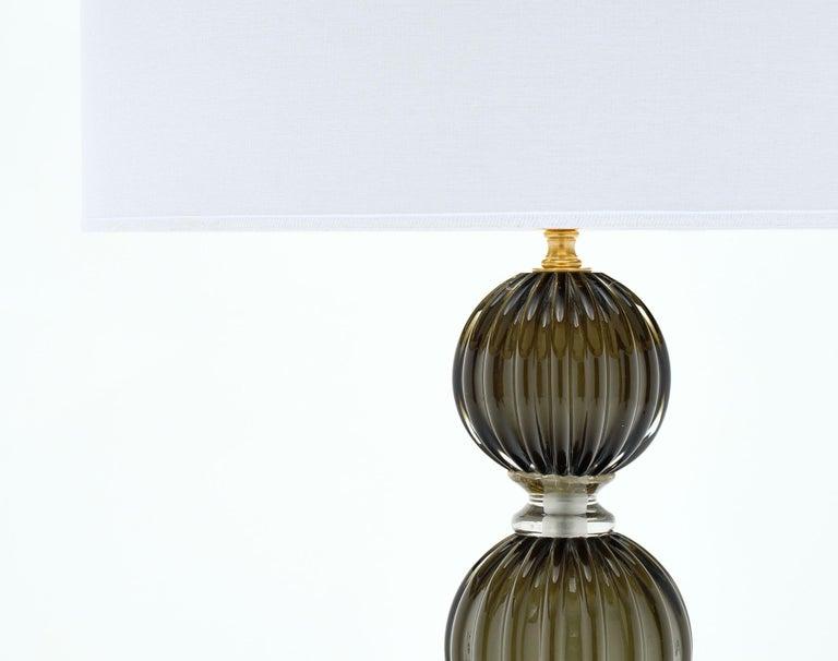 Modern Murano Glass Dark Smoke Lamps For Sale