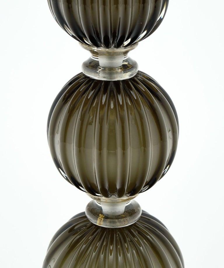Italian Murano Glass Dark Smoke Lamps For Sale