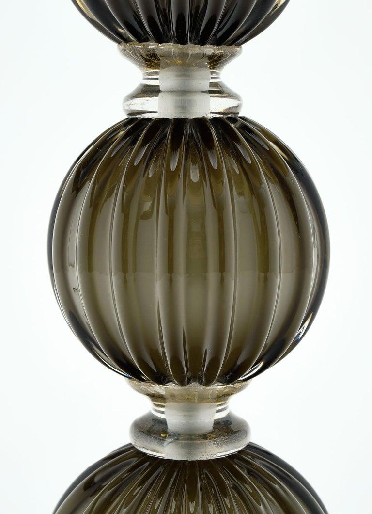 Murano Glass Dark Smoke Lamps In Good Condition For Sale In Austin, TX