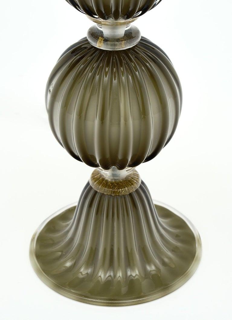 Contemporary Murano Glass Dark Smoke Lamps For Sale