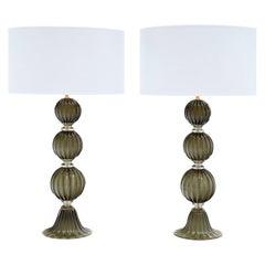 Murano Glass Dark Smoke Lamps