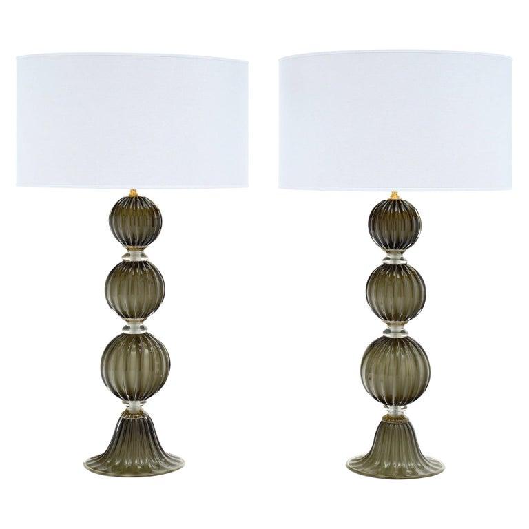 Murano Glass Dark Smoke Lamps For Sale